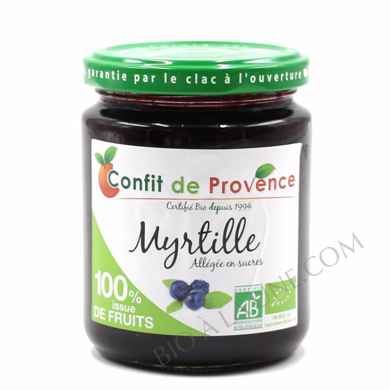 Confiture BIO allégée en sucres  100 % fruits - MYRTILLE