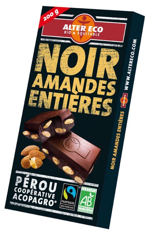 Chocolat noir amandes entières