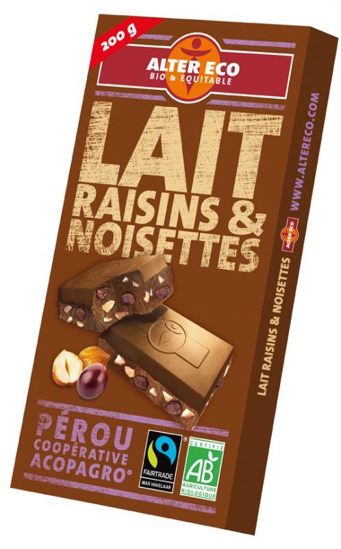 Chocolat lait raisins et noisettes