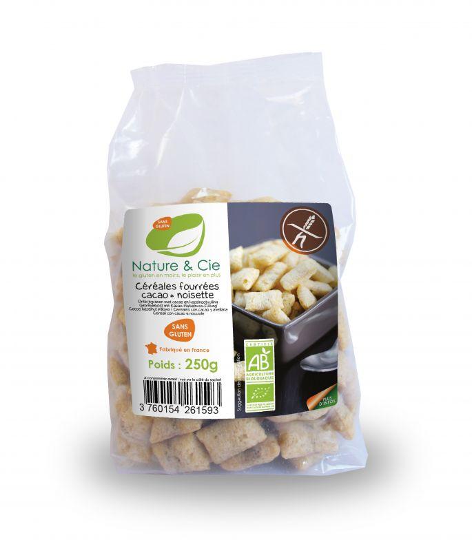 Céréales fourrées noisette chocolat