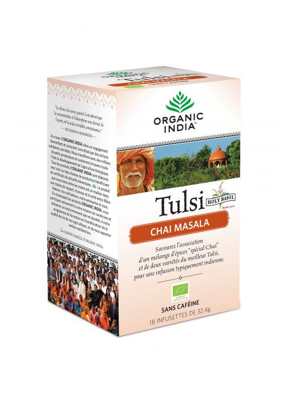 Thé TULSI CHAI Masala Bio Ayurvédique - Organic India