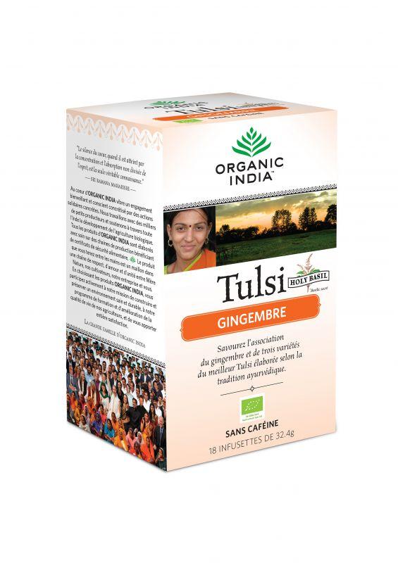 Thé TULSI GINGER  au Gingembre Bio Ayurvédique - ORGANIC INDIA
