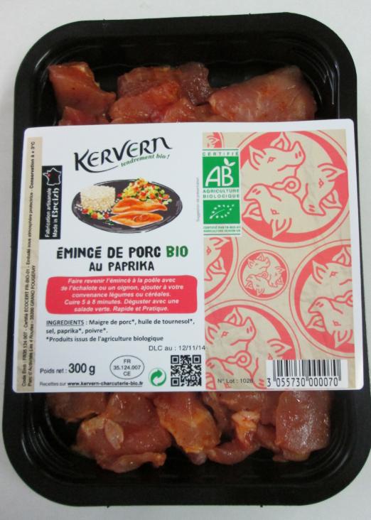 Emincé de porc bio au paprika