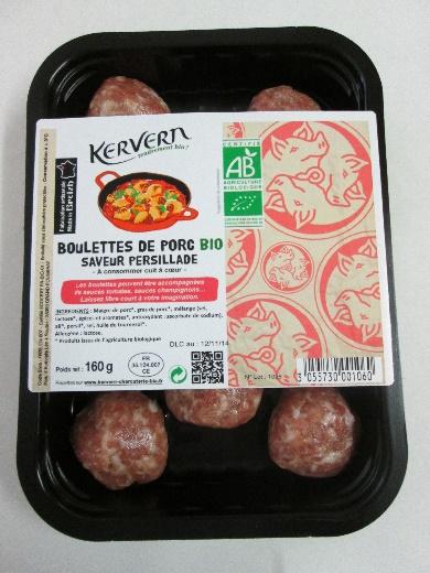 Boulettes de porc bio saveur persillade