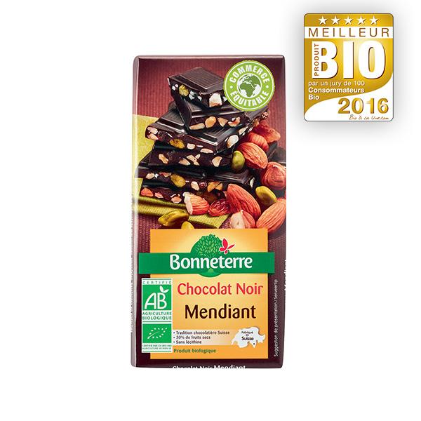 Tablette chocolat noir mendiant Bonneterre
