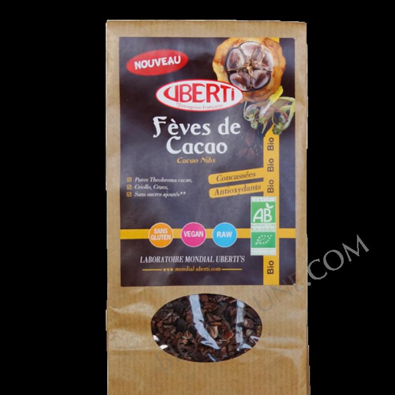 Fèves de cacao concassées BIO, crues