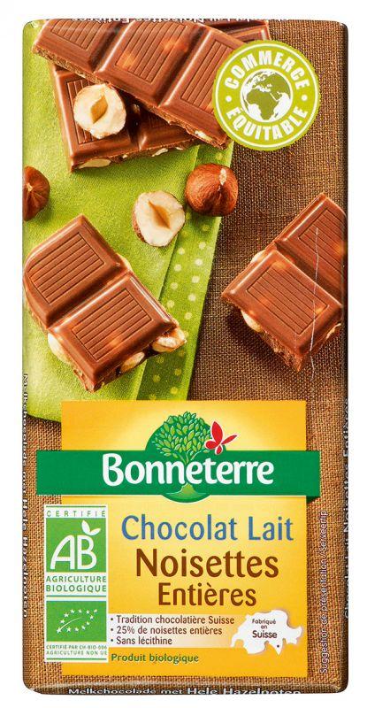 Bonneterre chocolat lait noisettes entières bio équitable