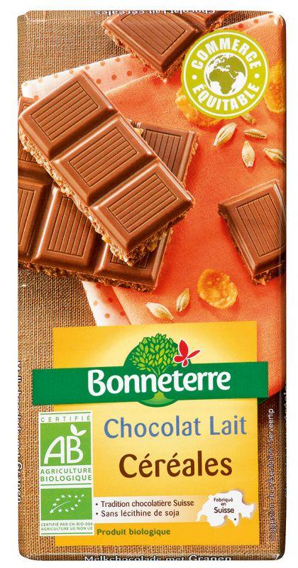 Bonneterre chocolat bio au lait et céréales