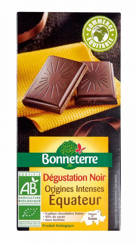 Bonneterre chocolat noir bio origine Equateur intense 90%