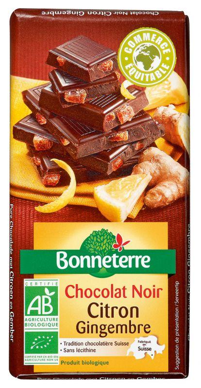 Bonneterre chocolat noir bio gourmand citron gingembre