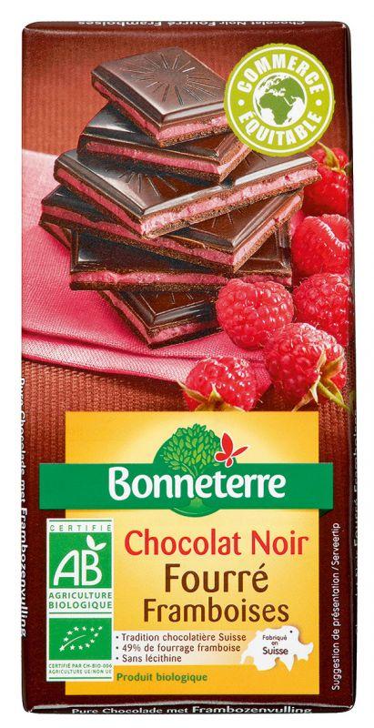 Bonneterre chocolat noir bio fourré framboises
