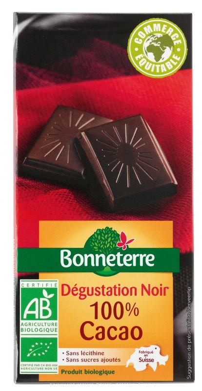 Bonneterre chocolat noir bio dégustation 100% cacao