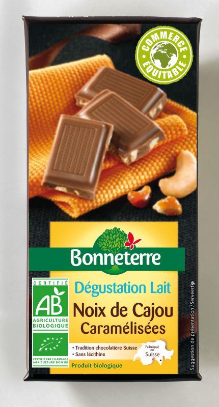 Bonneterre chocolat lait bio noix de cajou
