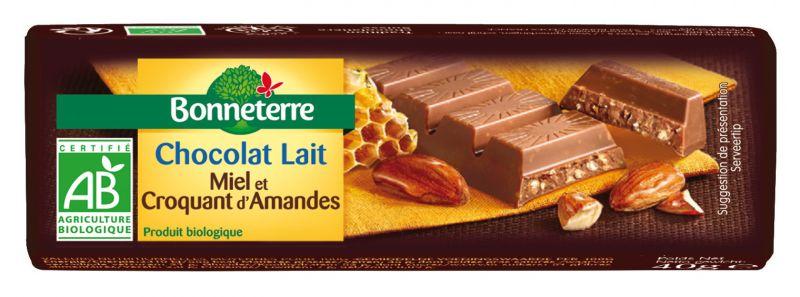 Bonneterre barre chocolat bio lait miel amandes