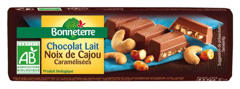 Bonneterre barre chocolat bio lait noix de cajou