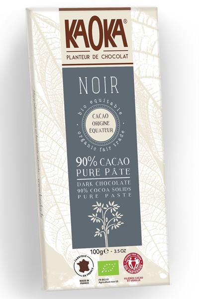 Chocolat Noir 90% pure Pâte de Cacao équateur bio équitable - KAOKA