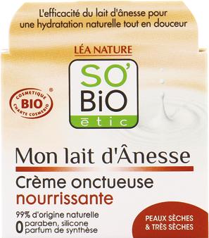 Crème onctueuse nourrisante, au lait d'ânesse bio
