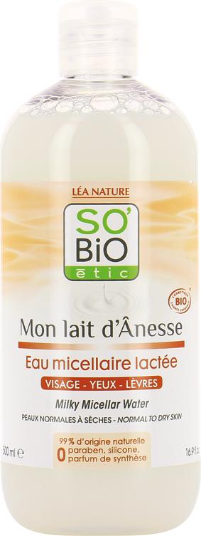 Eau micellaire lactée, au lait d'ânesse bio