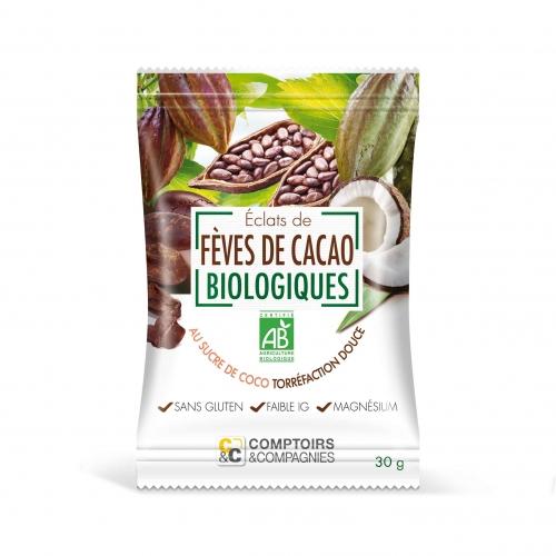 Eclats de fèves de cacao torréfiées enrobés de sucre de coco bio
