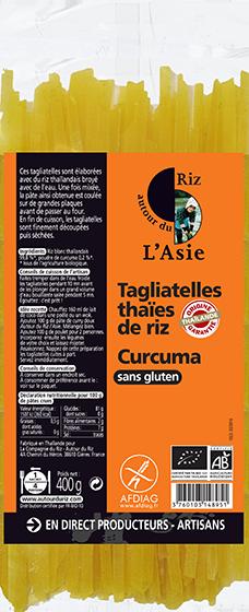 Tagliatelles thaïes de riz curcuma