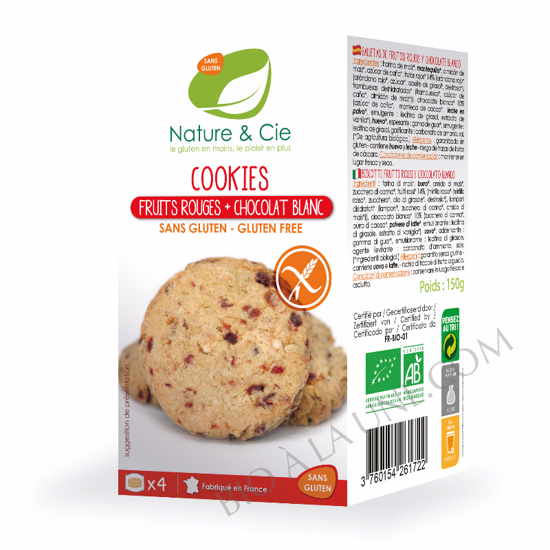 Cookies fruits rouges chocolat blanc sans gluten