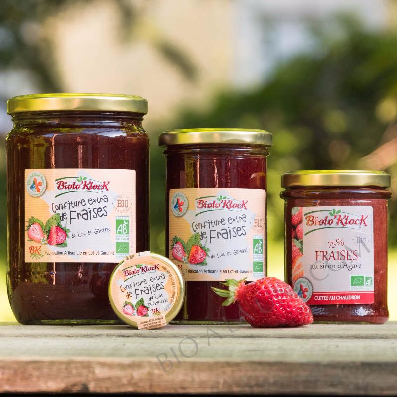 Photo de famille des confitures de fraises BIOLO'KLOCK