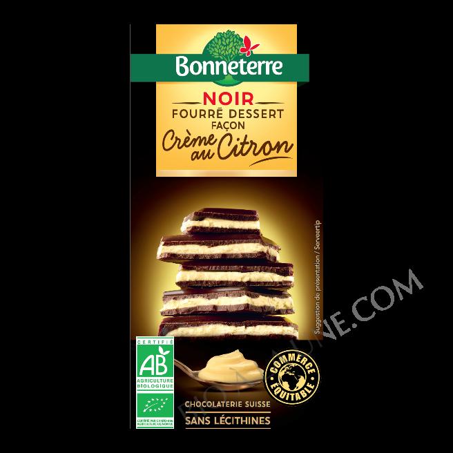 Chocolat noir fourré dessert façon crème au citron bio Bonneterre