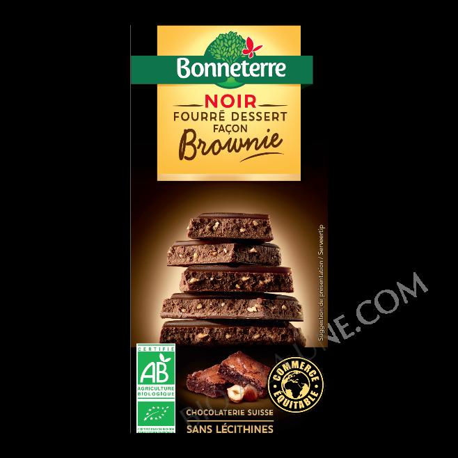 Chocolat noir fourré dessert façon brownie bio Bonneterre