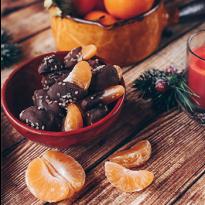 Truffes et clémentines au chocolat noir