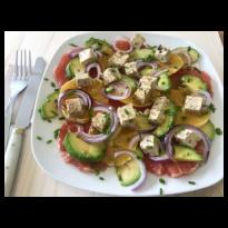 Salade d'agrumes, roquette et Tofu Sojami aux Olives