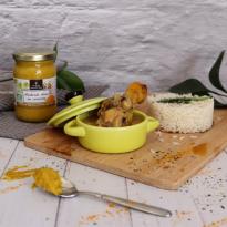 Cuisses de poulet à la sauce champignon à la Moutarde douce au  curcuma BIO