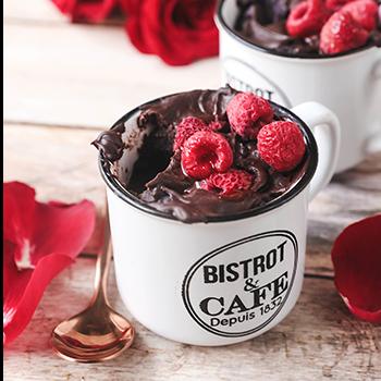 Mug cake chocolat et framboise