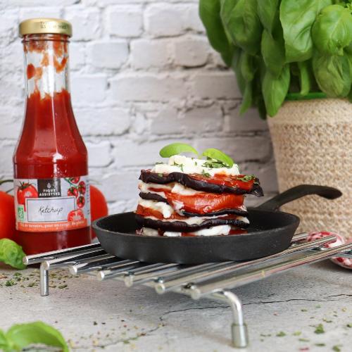 Tour d'aubergines au Ketchup BIO & Mozzarella